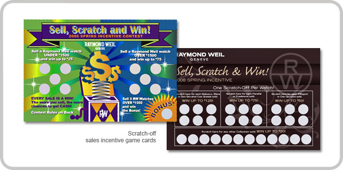 Scratch-off sales incentive game cards